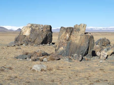horison: Huge megalith stones on a sacred place in steppe. Chuya steppe, daylight, mountins on horizon. Stock Photo