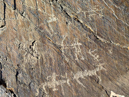 uomo a cavallo: Antico cavaliere con cervi, cacciatore con l'arco, petroglifi. monumento megalitico in Chuya steppa, Barburgazi, Turu-Alti. Daylight. Archivio Fotografico