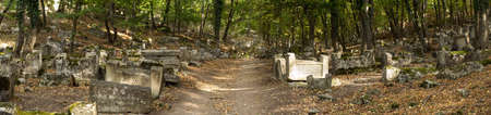 Valley of Josaphat in Crimea. Karaite cemetery, at least 5,000 tombstones. Shaped tombstones are diverse: rectangular plate, two-horned, horned, obelisks, stelae. The first burial was made here not earlier XIV-XV centuries.The epitaphs on monuments made i Redakční