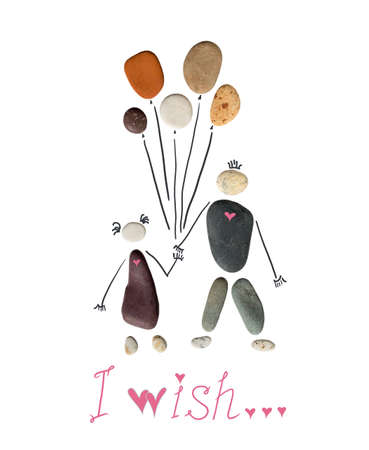 Silhouette of a man and a woman holding balloons. The inscription below I wish. Conceptual picture of love and feelings, pebble art and drawing, hearts on stones and in the lettering.