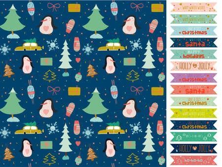 Vintage Christmas and New Year greeting pattern. Vector illustration of gingerbread, toys, snowman, gifts, mittens and other winter elements. Good for design, cards or posters. Scrapbooking. Wrapping Vector