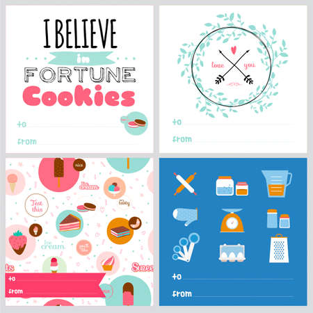 phrases: Set of square greeting cards with food icons, cooking recipes and stylish typography and wishes. Flatware, crockery, food, motivational phrases on colorful background. Good for cafes and restaurants Illustration