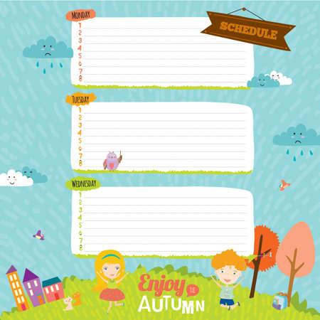 addio: elementi di design per notebook, diario, organizzatore e altri design template scuola. Documenti di nota sveglio e fumetto illustrazione, pronti per il tuo messaggio. Addio estate. Ciao autunno.