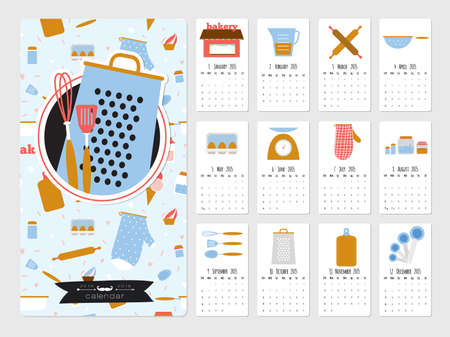 cartoon calendar: Unusual calendar for 2015. Cute vector food icons with cartoon cooking elements. Vector illustration in cute style. Vintage collection. Good organizer and schedule. Suitable for cafes and restaurants. Illustration