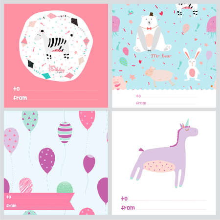 Set of square greeting cards with cute animals, seamless patterns, balloons and wishes.  Vector