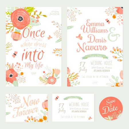 Vintage romantiskt blom- räddning datera inbjudan i ljusa färger i vektor. Bröllop kalligrafi kort med hälsnings etiketter, band, hjärtan, blommor, pilar, kransar, lagerblad. Illustration