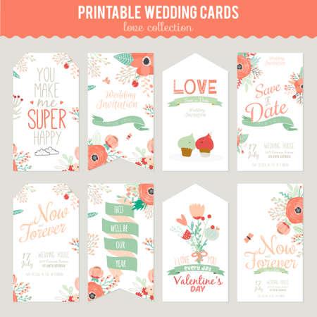 빈티지 로맨틱 한 꽃 벡터 밝은 색상의 날짜 초대를 저장합니다. 인사 라벨, 리본, 하트, 꽃, 화살표, 화환, 월계수와 웨딩 서예 카드 템플릿입니다.