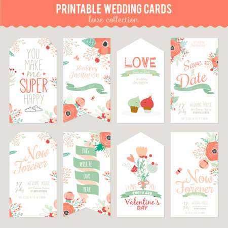 romantico: Floral romántica del vintage la invitación de la fecha en colores brillantes en el vector. Boda plantilla de tarjeta de felicitación de la caligrafía con etiquetas, cintas, corazones, flores, flechas, coronas, laurel. Vectores