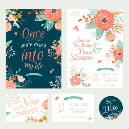 Vintage romantische bloemen sparen de uitnodiging van de Datum in heldere kleuren in vector. Wedding kaart kalligrafie sjabloon met groet labels, linten, harten, bloemen, pijlen, kransen, laurier.