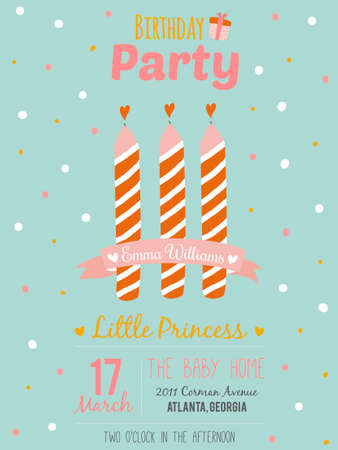 three wishes: Unusual inspirational, romantic and motivational quotes invitation card. Stylish happy birthday poster in cute style with bright garlands and sparkles for boy. Template for print design. Illustration