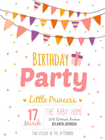 girl party: Unusual inspirational, romantic and motivational quotes invitation card. Stylish happy birthday poster in cute style with bright garlands and sparkles for boy. Template for print design. Illustration