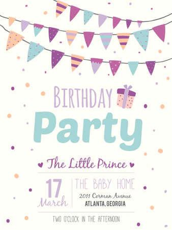 Ongebruikelijke inspirerend, romantische en motievencitaten uitnodigingskaart. Stijlvolle gelukkige verjaardag poster in leuke stijl met heldere slingers en schittert voor jongen. Sjabloon voor print design. Stock Illustratie
