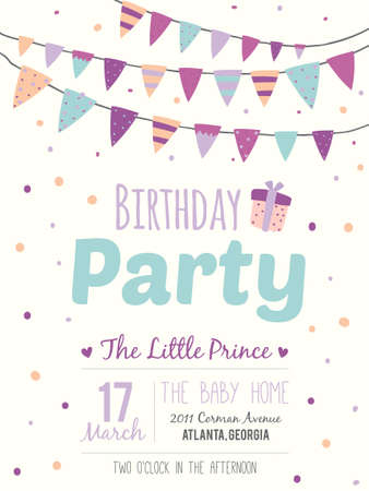 Unusual inspirational, romantic and motivational quotes invitation card. Stylish happy birthday poster in cute style with bright garlands and sparkles for boy. Template for print design. Иллюстрация