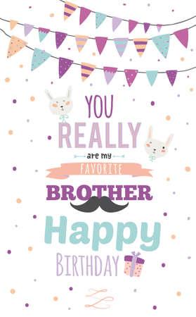 , 영감 로맨틱하고 동기 부여 초대 카드. 정말 좋아하는 동생 밝은 화환과 반짝임 귀여운 스타일의 세련된 생일 포스터. 인쇄 디자인을위한 템플릿 일러스트