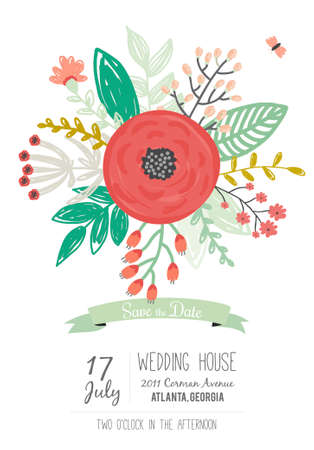 Vintage romantico floreale Promemoria invito con colori vivaci nel vettore. Wedding modello di scheda di calligrafia con le etichette di auguri, nastri, cuori, fiori, frecce, corone, alloro.