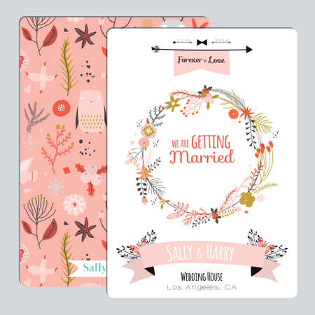 romantic: Vintage romantic floral Save the Date invitation in bright colors in vector. Wedding calligraphy card template with greeting labels, ribbons, hearts, flowers, arrows, wreaths, laurel.