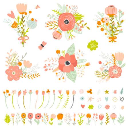 Romantische en liefde Zomer boeketten bloemen voor de bruiloft, moederdag, verjaardag, uitnodigingen. Groet illustratie van boeketten, harten, bloemen, bladeren, kransen, lauweren, wensen