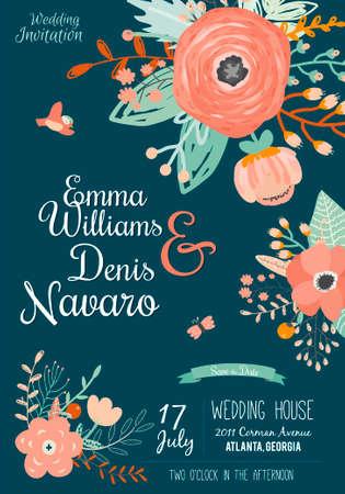 결혼식: 빈티지 로맨틱 한 꽃 벡터 밝은 색상의 날짜 초대를 저장합니다. 인사 라벨, 리본, 하트, 꽃, 화살표, 화환, 월계수와 웨딩 서예 카드 템플릿입니다.