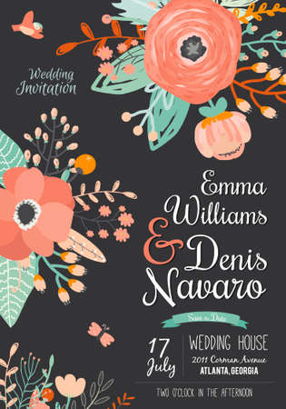 date: Vintage romantic floral Save the Date invitation in bright colors in vector. Wedding calligraphy card template with greeting labels, ribbons, hearts, flowers, arrows, wreaths, laurel.