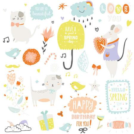 lindo: Ilustración impresión romántica y encantadora con elementos lindos de primavera y verano. Plantilla para el álbum de recortes, envoltura, cuadernos, diario, etiquetas, accesorios de la escuela