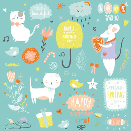 monas: Ilustración impresión romántica y encantadora con elementos lindos de primavera y verano. Plantilla para el álbum de recortes, envoltura, cuadernos, diario, etiquetas, accesorios de la escuela