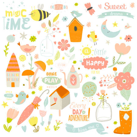 Romantic and lovely print illustration with cute spring and summer elements. Template for scrapbooking, wrapping, notebooks, diary, decals, school accessories Vectores