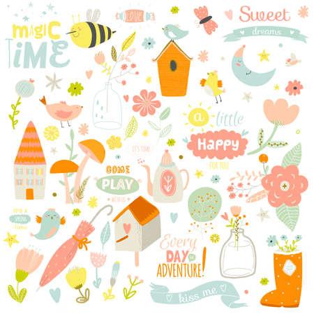 cartoon  birds: Ilustraci�n impresi�n rom�ntica y encantadora con elementos lindos de primavera y verano. Plantilla para el �lbum de recortes, envoltura, cuadernos, diario, etiquetas, accesorios de la escuela