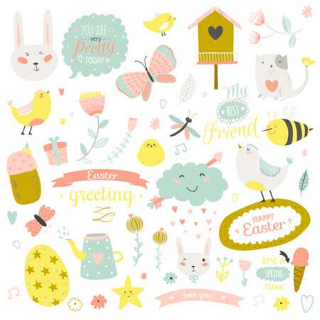 ilustracion: Ilustración impresión romántica y encantadora con elementos lindos de primavera y verano. Plantilla para el álbum de recortes, envoltura, cuadernos, diario, etiquetas, accesorios de la escuela