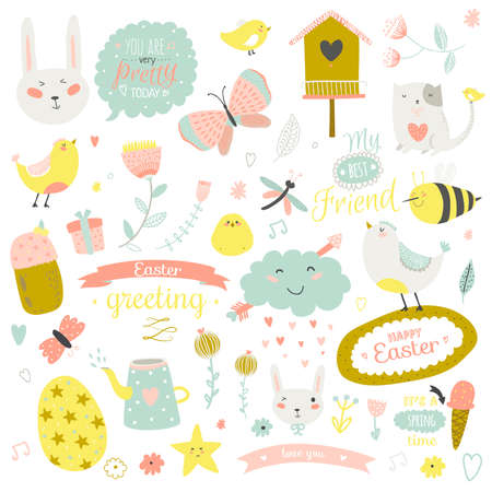 Romantic and lovely print illustration with cute spring and summer elements. Template for scrapbooking, wrapping, notebooks, diary, decals, school accessories Çizim