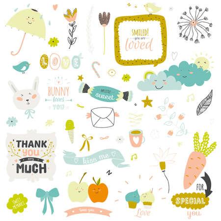cute: Ilustración impresión romántica y encantadora con elementos lindos de primavera y verano. Plantilla para el álbum de recortes, envoltura, cuadernos, diario, etiquetas, accesorios de la escuela