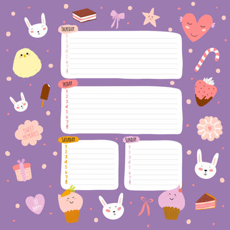 summer school: Cute cards, notes and stickers with spring and summer illustrations. Template for scrapbooking, notebooks, diary, personal schedule and school accessories.