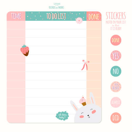 school schedule: Cute cards, notes and stickers with spring and summer illustrations. Template for scrapbooking, notebooks, diary, personal schedule and school accessories.