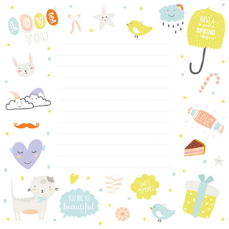 notebook page: Cute cards, notes and stickers with spring and summer illustrations. Template for scrapbooking, notebooks, diary, personal schedule and school accessories.