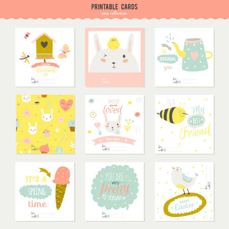 cute birds: Cute cards, notes and stickers with spring and summer illustrations. Template for scrapbooking, notebooks, diary, personal schedule and school accessories.