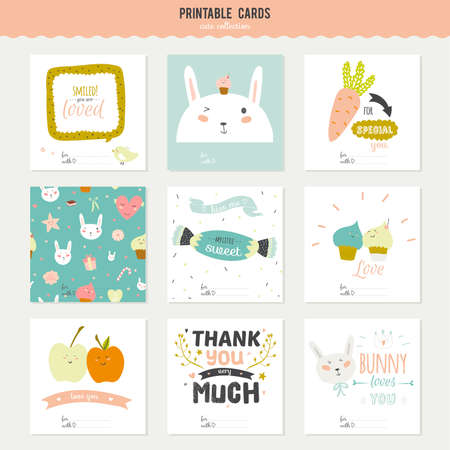 spring: Cute cards, notes and stickers with spring and summer illustrations. Template for scrapbooking, notebooks, diary, personal schedule and school accessories.