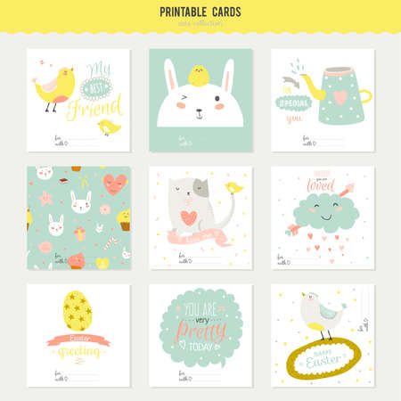 sweet: Cute cards, notes and stickers with spring and summer illustrations. Template for scrapbooking, notebooks, diary, personal schedule and school accessories.