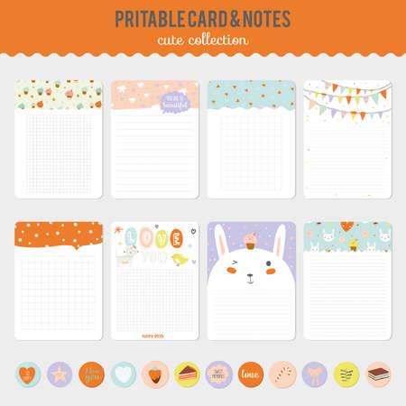 primavera: Tarjetas lindas, notas y pegatinas con la primavera y el verano ilustraciones. Plantilla para scrapbooking, cuadernos, diario, horario personal y accesorios de la escuela. Vectores