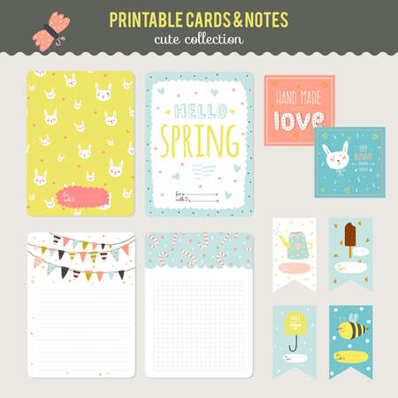 Cute cards, notes and stickers with spring and summer illustrations. Template for scrapbooking, notebooks, diary, personal schedule and school accessories.