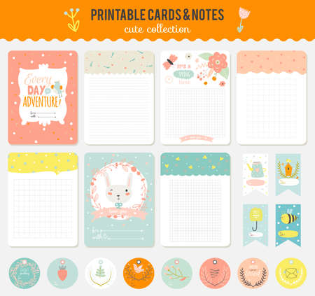 scrapbooking: Cute cards, notes and stickers with spring and summer illustrations. Template for scrapbooking, notebooks, diary, personal schedule and school accessories.