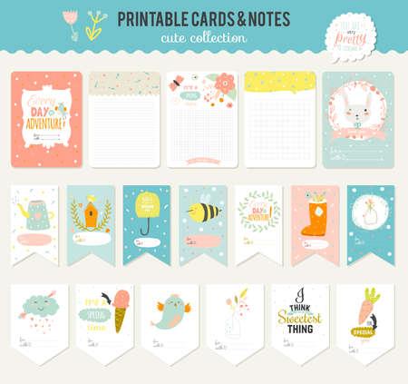 ilustracion: Tarjetas lindas, notas y pegatinas con la primavera y el verano ilustraciones. Plantilla para scrapbooking, cuadernos, diario, horario personal y accesorios de la escuela. Vectores