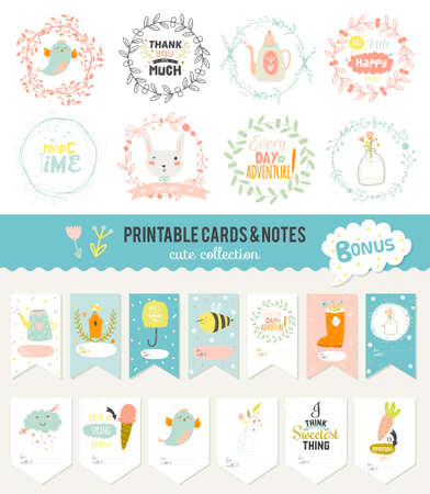 cute: Cute cards, notes and stickers with spring and summer illustrations. Template for scrapbooking, notebooks, diary, personal schedule and school accessories.