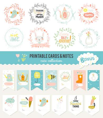 roztomilý: Cute karty, poznámky a samolepky s jarních a letních ilustrací. Šablona pro scrapbooking, notebooky, diář, osobní plán a školní potřeby.