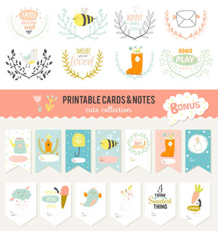 spring message: Cute cards, notes and stickers with spring and summer illustrations. Template for scrapbooking, notebooks, diary, personal schedule and school accessories.