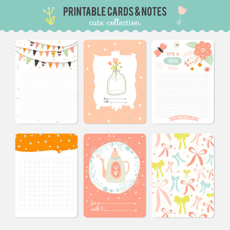 wishes romantic: Cute cards, notes and stickers with spring and summer illustrations. Template for scrapbooking, notebooks, diary, personal schedule and school accessories.