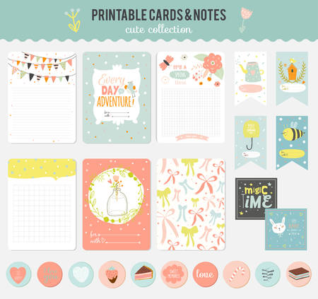 paper note: Cute cards, notes and stickers with spring and summer illustrations. Template for scrapbooking, notebooks, diary, personal schedule and school accessories.