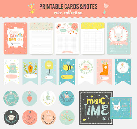 scrapbook: Cute cards, notes and stickers with spring and summer illustrations. Template for scrapbooking, notebooks, diary, personal schedule and school accessories.