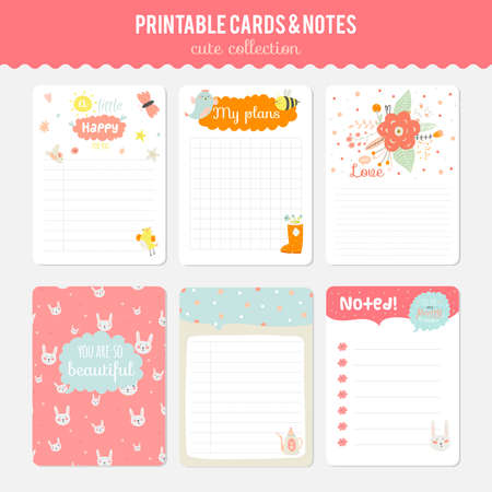 note books: Cute cards, notes and stickers with spring and summer illustrations. Template for scrapbooking, notebooks, diary, personal schedule and school accessories.
