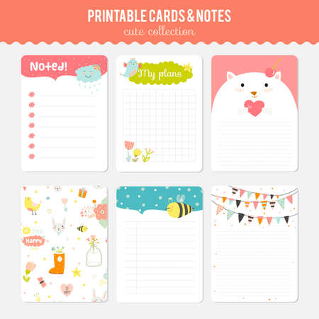 spring summer: Cute cards, notes and stickers with spring and summer illustrations. Template for scrapbooking, notebooks, diary, personal schedule and school accessories.