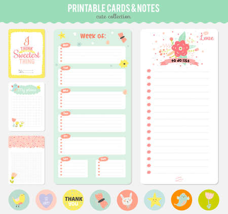 organizer: Cute cards, notes and stickers with spring and summer illustrations. Template for scrapbooking, notebooks, diary, personal schedule and school accessories.
