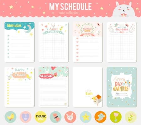 romantic: Cute cards, notes and stickers with spring and summer illustrations. Template for scrapbooking, notebooks, diary, personal schedule and school accessories.